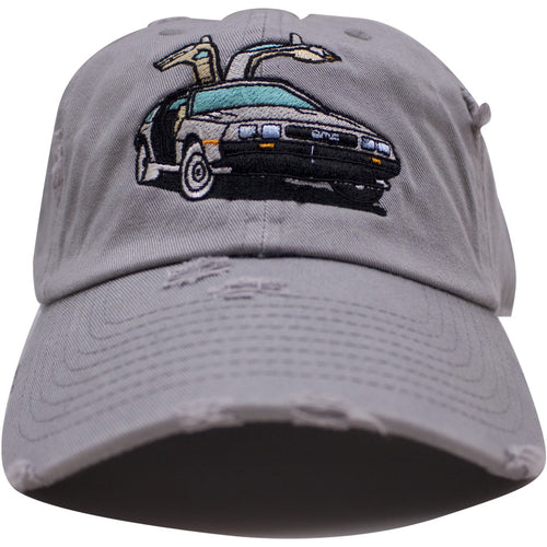 the back to the future gray distressed delorean dad hat is gray with a delorean logo embroidered on the front