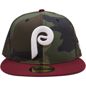 the philadelphia phillies woodland camouflage on maroon vintage cooperstown fitted cap has a camouflage crown and a maroon brim