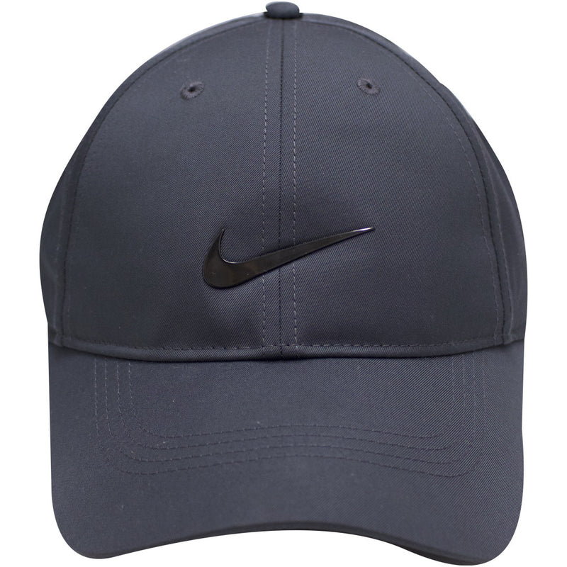 the nike dri-fit golf ball cap is gray with a black nike logo on the front, it's made of a drifit material
