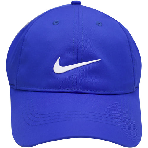 the nike dri-fit golf ball cap is royal blue with a white swoosh