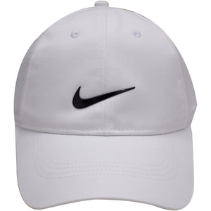 the white nike dri-fit ball cap has a white crown and a white brim with a black swoosh on the front