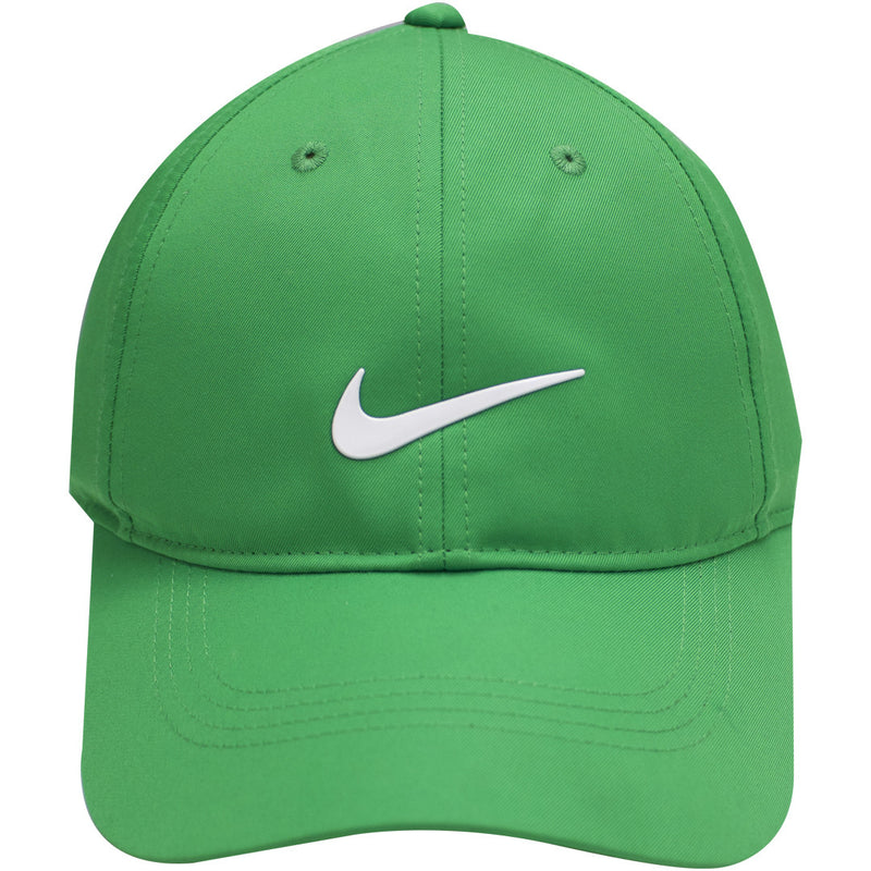 the nike dri-fit ball cap is solid green with a white swoosh logo on the front