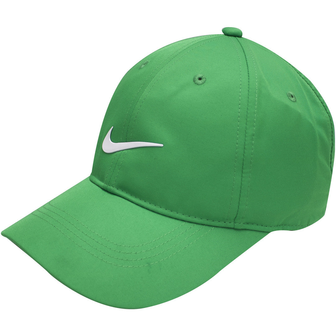 ad086ccaaa ... white swoosh logo on  the kelly green dri-fit nike ball cap has a bent  brim and a structured ...