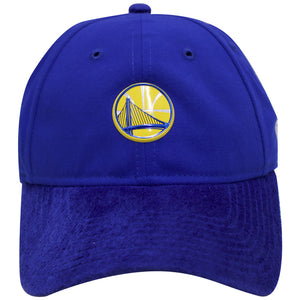 the blue golden state warriors 2017 nba draft dad hat has a blue suede brim and a blue crown