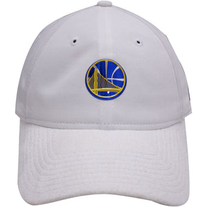 the golden state warriors 2017 nba draft dad hat has a white crown and a white suede brim