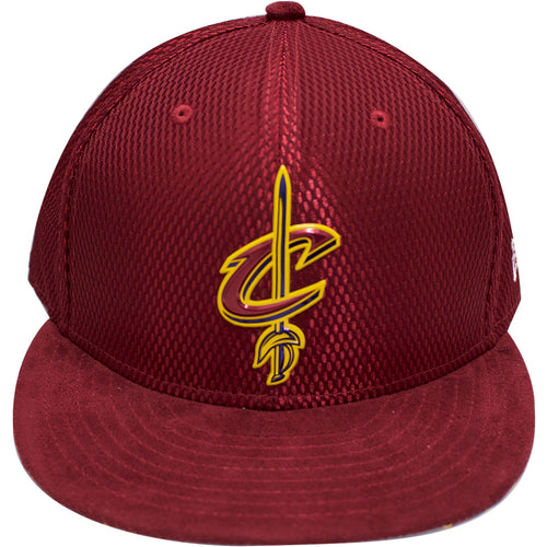 the cleveland cavaliers 2017 nba fitted cap has a maroon mesh crown and a maroon suede brim