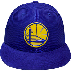 the golden state warriors blue 2017 draft day fitted cap has a flat blue suede brim and a blue mesh crown