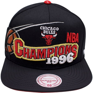 the chicago bulls nba championship hat from 1996 is solid black