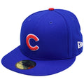 the chicago cubs world series fitted cap is solid blue