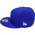 on the left side of the chicago cubs world series fitted cap is  new era logo embroidered in white