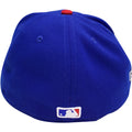 on the back of the chicago cubs world series fitted cap is the mlb logo embroidered in red white and blue