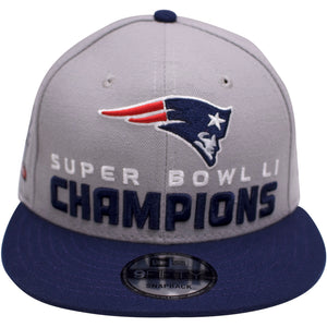 "on the front of the New England Patriots, super bowl LI championship snapback hat is the New England Patriots logo and the words "" Super Bowl LI CHAMPIONS"""