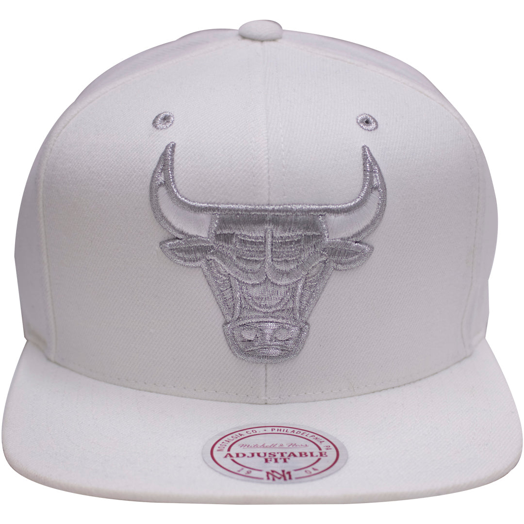 3ff6bc212897 the chicago bulls air jordan 4 pure money snapback hat is white with a  silver bull