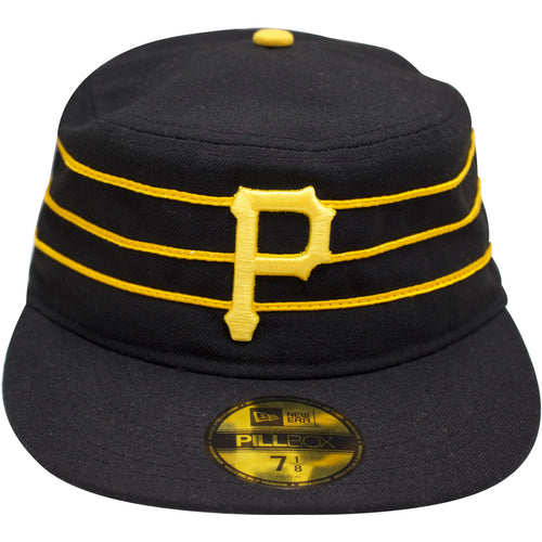 on the front of the vintage Pittsburgh Pirates Pillbox hat is the Pirates logo embroidered in yellow