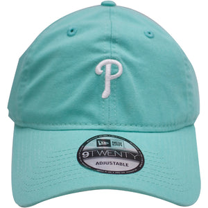 the teal philadelphia phillies dad hat is an unstructured crown and a bent brim