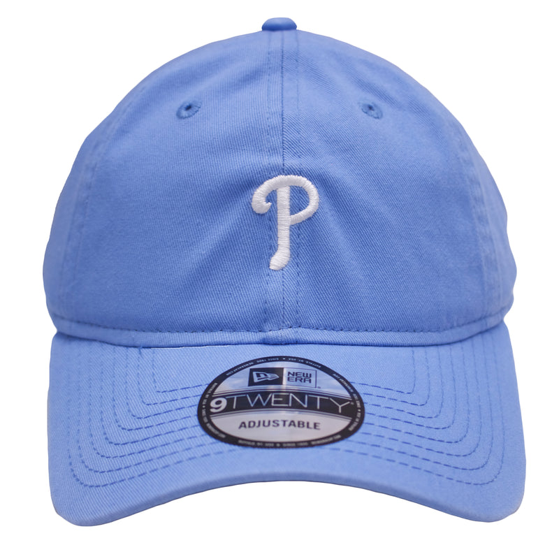 the light blue philadelphia phillies dad hat has a white logo