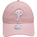 the light pink women's philadelphia phillies dad hat has a white philadelphia phillies logo embroidered on the front