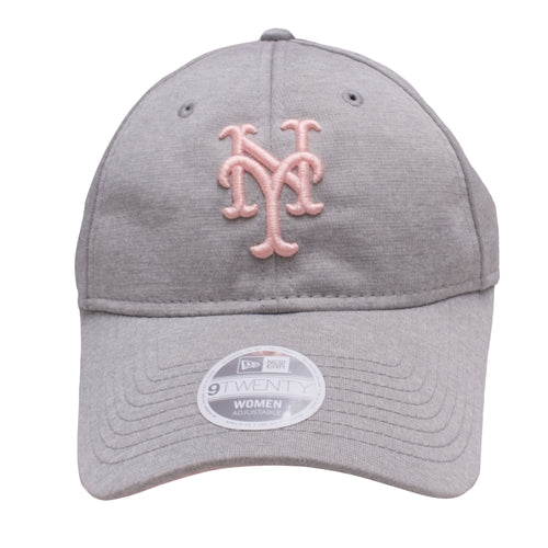 the light gray new york mets womens ball cap is gray with a pink mets logo