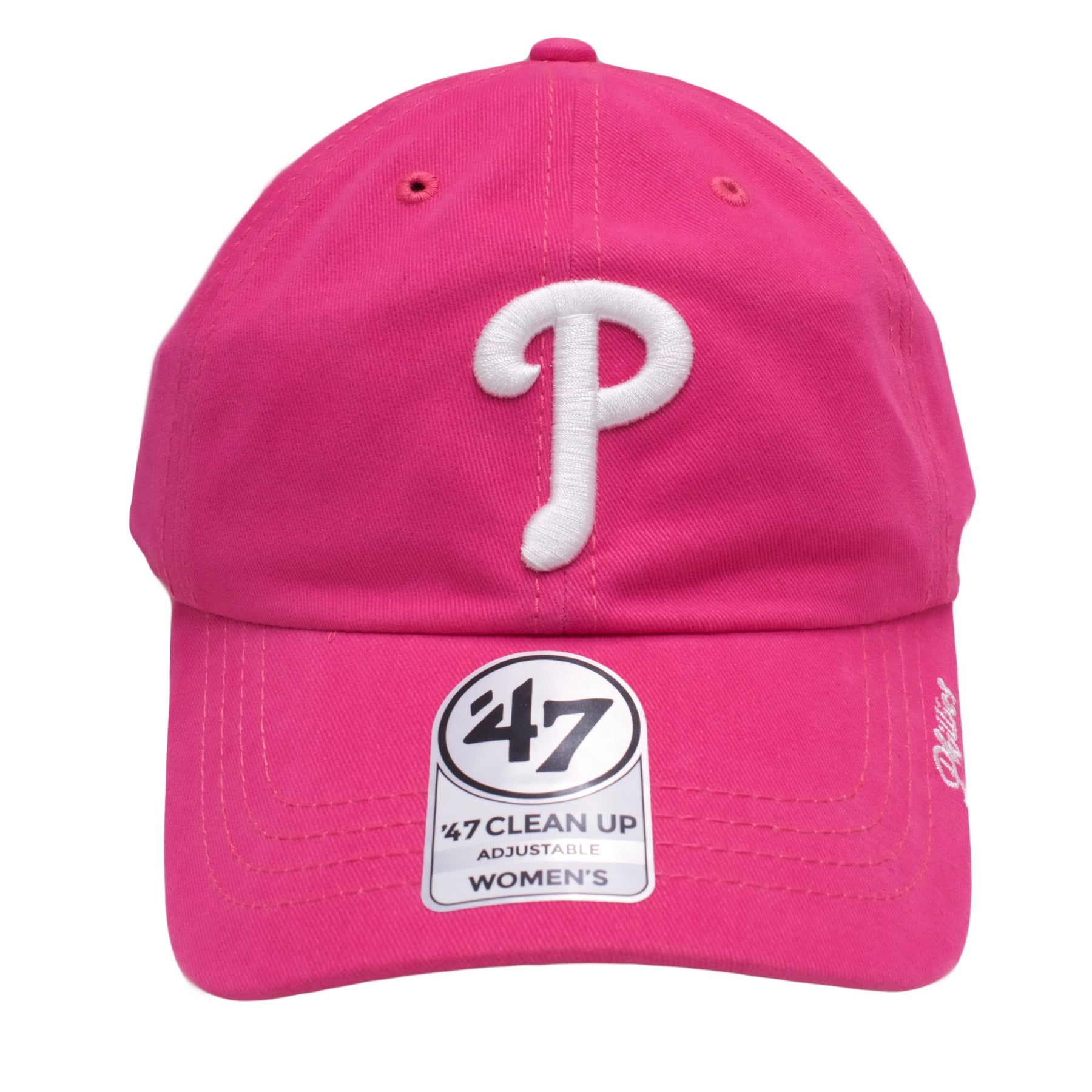 the pink phillies women s dad hat is hot pink with a white phillies logo 4024da72c