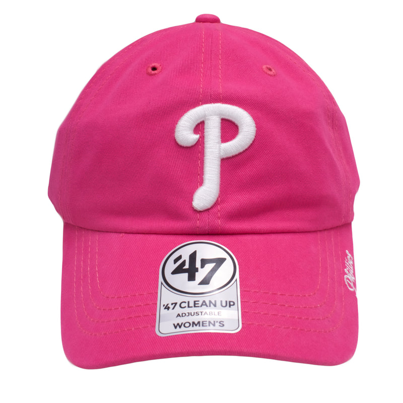 the pink phillies women's dad hat is hot pink with a white phillies logo