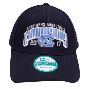 the NCAA Men's Basketball 2017 Championship dad hat is navy blue with a white and light blue logo embroidered on the front