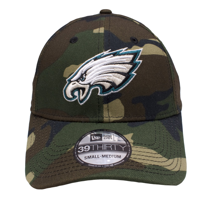 the Philadelphia Eagles Woodland Camouflage flexfit hat has a Philadelphia Eagles logo embroidered on the front of a camouflage flexfit hat