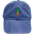 the pineapple denim dad hat is solid denim with a pineapple embroidered on the front in gold, black and denim