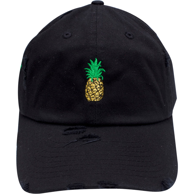 the black distressed pineapple dad hat is black with a pineapple embroidered on the front