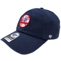 the vintage navy blue retro yankees dad hat has a soft crown and a bent brim