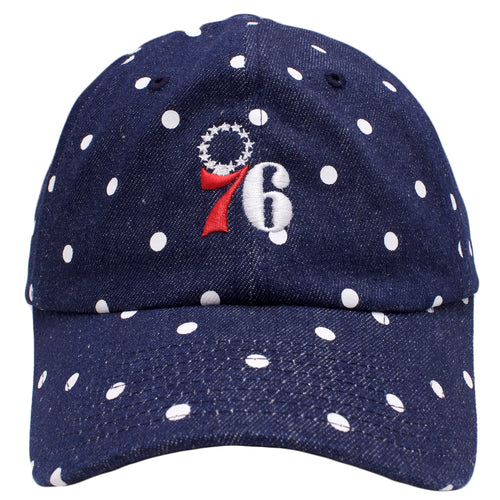 the denim white polka dot philadelphia 76ers dad hat has a red and white 76ers logo embroidered on the front