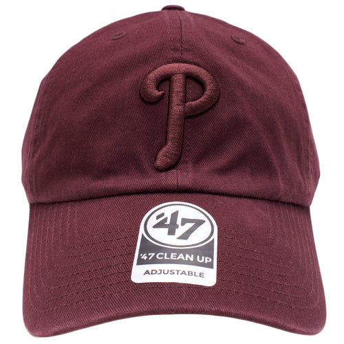 the maroon on maroon philadelphia phillies dad hat is solid maroon with a maroon philadelphia phillies logo embroidered on the front