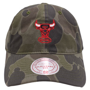 the woodland camouflage chicago bull dad hat is solid camouflage with a red bulls logo embroidered on the front