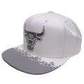 the chicago bulls white lava reflective snapback hat has a high crown and a flat brim
