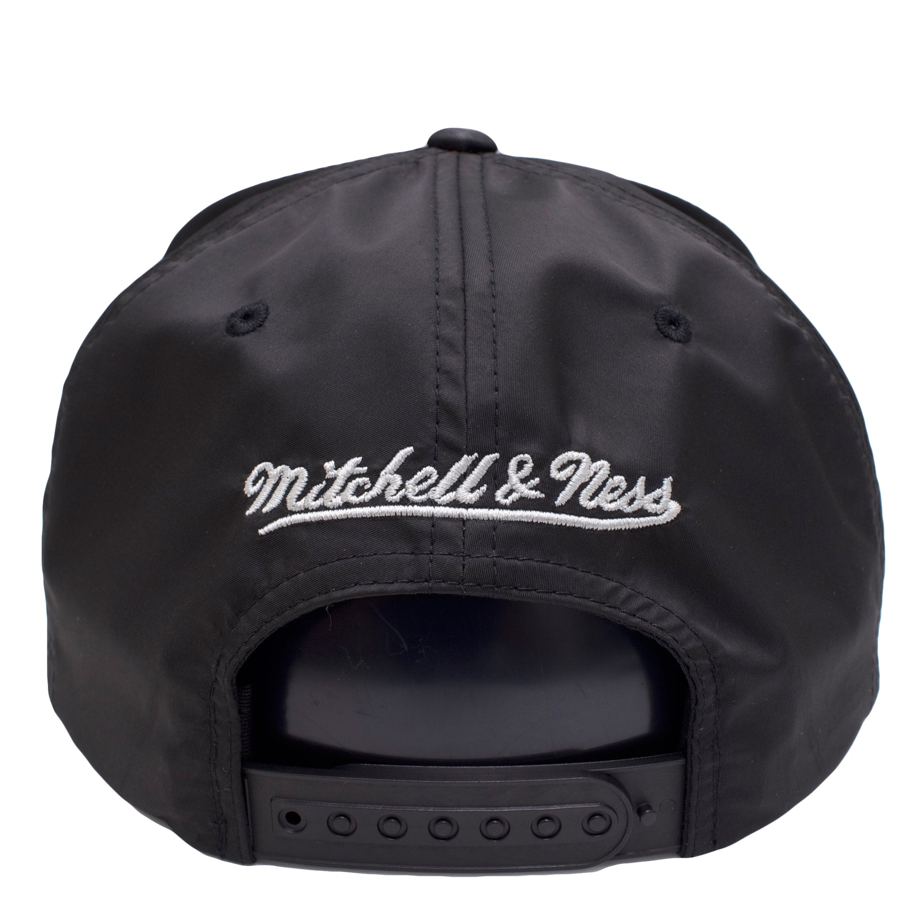 best sneakers 4c63c 7d0fd ... the back of the chicago bulls black reflective lava snapback hat has a silver  mitchell and ...