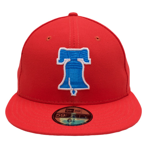the 2017 player's weekend fitted cap is solid red with a blue and white liberty bell logo embroidered in front