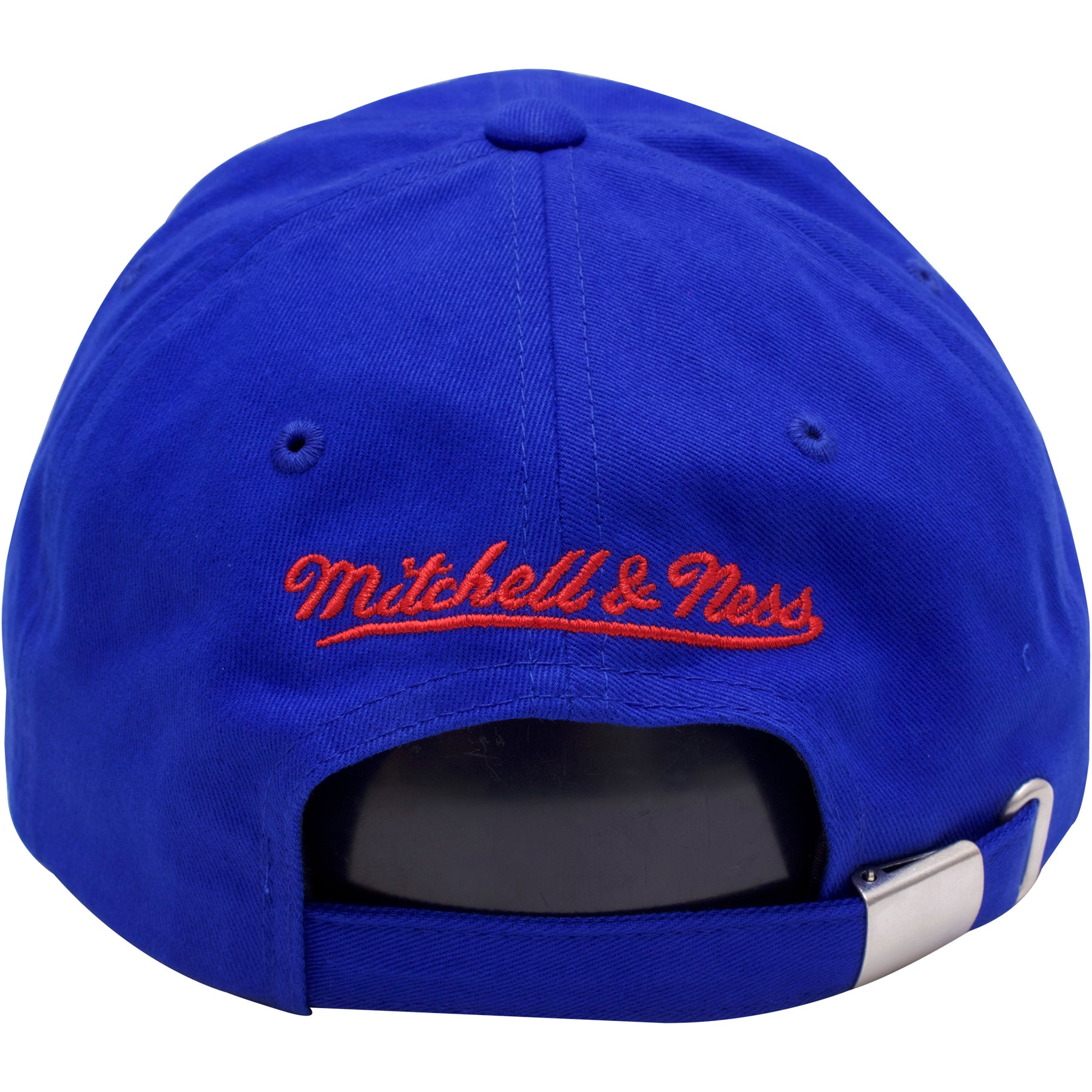 fa176e8dc34 ... on the back of the Philadelphia 76ers blue mascot dad hat is the  Mitchell and Ness ...