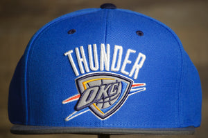 Thunder Snapback Hat | Oklahoma City Thunder Reflective 2-Tone Snap Cap this is the front of the thunder snap back