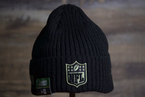 NFL 2020 Salute To Service Beanie | NFL Knitted Military Beanie the front of this nfl salute to service beanie is a black top with the NFL Shield in brown and black on the cuff