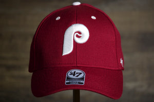 Phillies Retro Flexfit | Philadlephia Phillies Cardinal  Stretch Hat the front of this red phillies hat is the phillies old school logo in white
