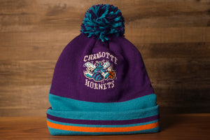 Hornets Beanie | Charlotte Hornets Double Sided Beanie | Retro Winter Hat this hornets retro beanie double sided, the first side is purple with their retro logo