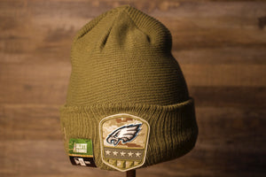 Eagles Youth Beanie | Philadelphia Eagles 2019 Salute To Service Beanie this eagles salute beanie is nothing on the top but the Eagles logo in a shield type of design on the front cuff