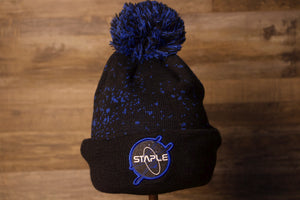 Jordan 11 Beanie |  Space Jam Beanie To Match Jordan Space Jam 11s the front of this beanie to match jordan 11 space jams, is black with dark blue dots to symbolize space and it has a blue and black pom