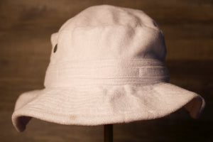 White Bucket Hat | Terry Cloth White Boonie Bucket hat | OSFM the front of the white terry cloth bucket hat is a plain white with a towel like material