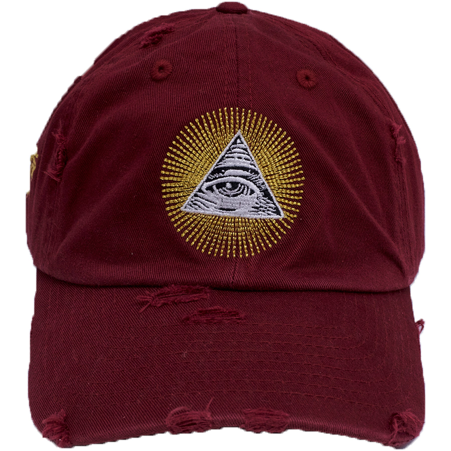 The Maroon Distressed All Seeing Eye Dad Hat Has A Gold White And Black