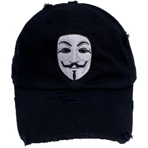 the anonymous v for vendetta guy fawkes black distressed dad hat has a white and black anonymous mask embroidered on the front