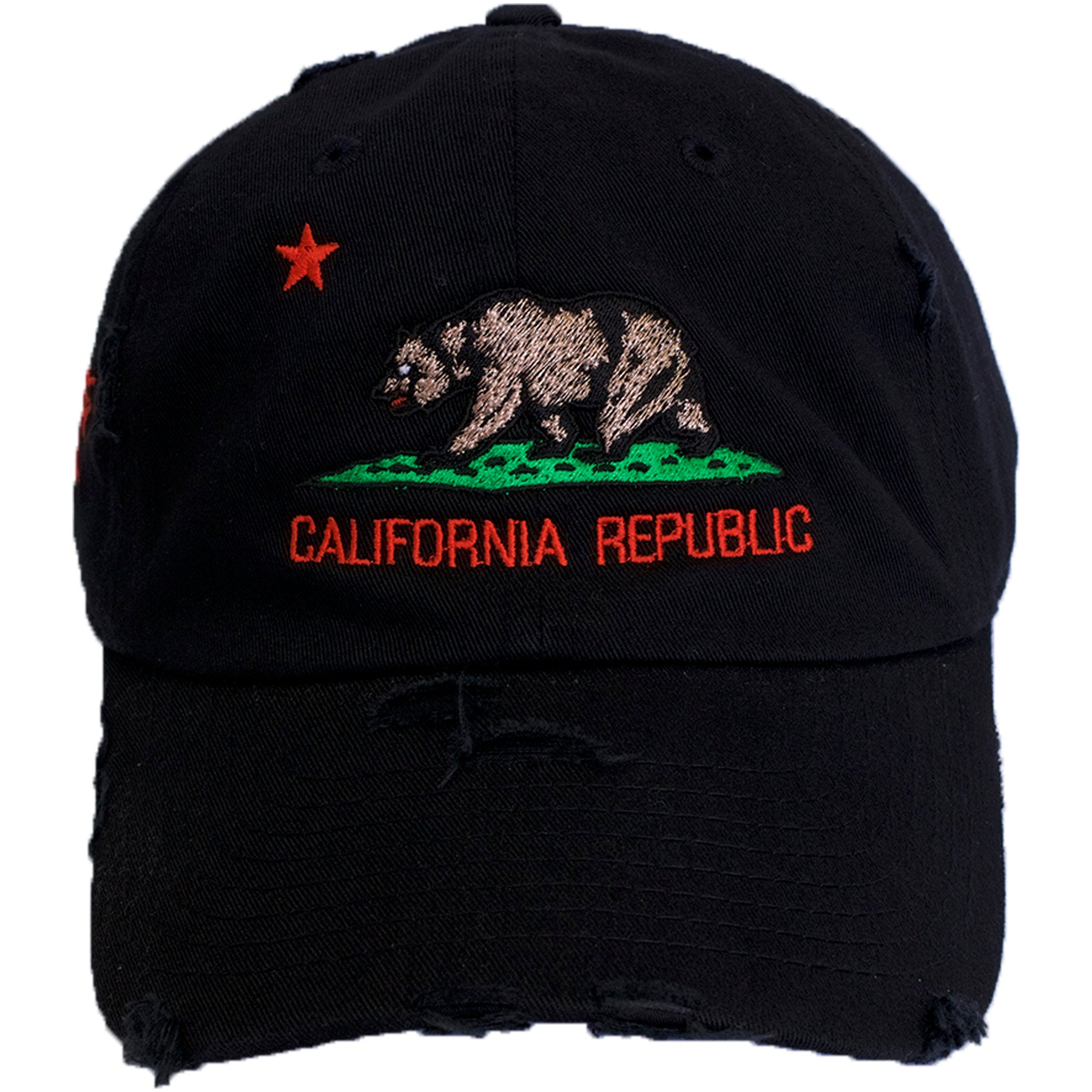 1dcf69c2d22 the black distressed california republic dad hat has the california republic  logo embroidered on the front