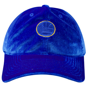 the blue golden state warrios velour dad hat has a blue soft crown and a blue bent brim