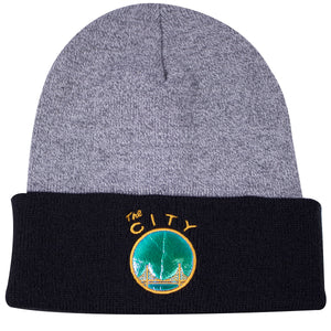 the mitchell and ness golden state warriors hologram winter beanie has a gray crown and black raised cuff with hologram golden state warriors on the front