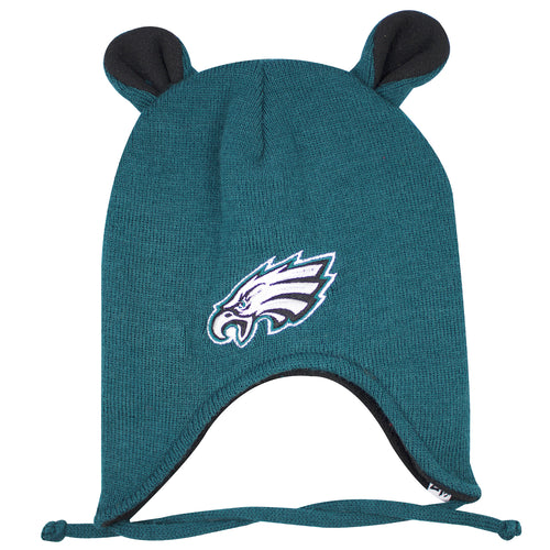 on the front of the philadelphia eagles little monster infant sized beanie is the eagles logo embroidered in white, black, silver, and green