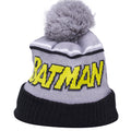 the batman comic con beanie is solid gray with a gray pom and a black cuff. The batman vintage comic lettering is yellow and black